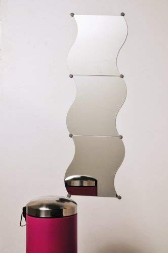 EVIDECO Set of 3 Wall Mounted Mirrors Wave Fixation Kit 11.8-inch X 11.8-inch by EVIDECO