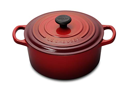 Le Creuset Signature Enameled Cast-Iron 5-1/2-Quart Round French (Dutch) Oven, Cerise (Cherry Red) (Best Size Le Creuset Dutch Oven)