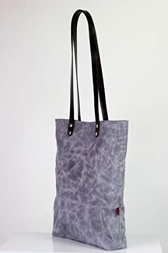 8e382c8319ee Amazon.com  Light Gray waxed canvas tote bag with leather strap shoulder  use magnetic snap closure fully cotton lined simply minimalist large  shoulder bag  ...