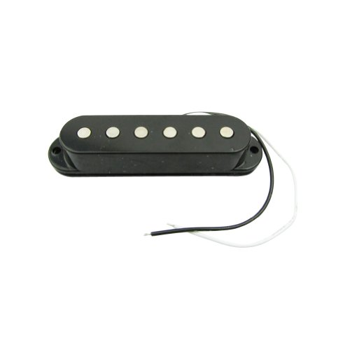 Musiclily 52MM Single Coil Pickup Bridge Pickup for Fender Strat Stratocaster Squier Electric Guitar Parts, Black Cover