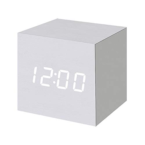 Wood Tabletop Clock (Wood Alarm Clock Digital LED Light Minimalist Mini Cube with Date and Temperature for Travel Kids Bedroom-White)