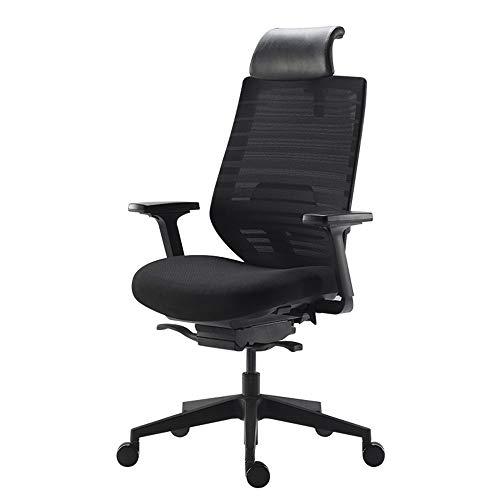 G/j/f Silla de Oficina, PU Ajustable reposacabezas Silla de Ordenador ergonomico sillas 120 ° Ajustable Escritorio Adecuado for el Ocio Oficina/Carga de 660 Libras/Negro/Azul