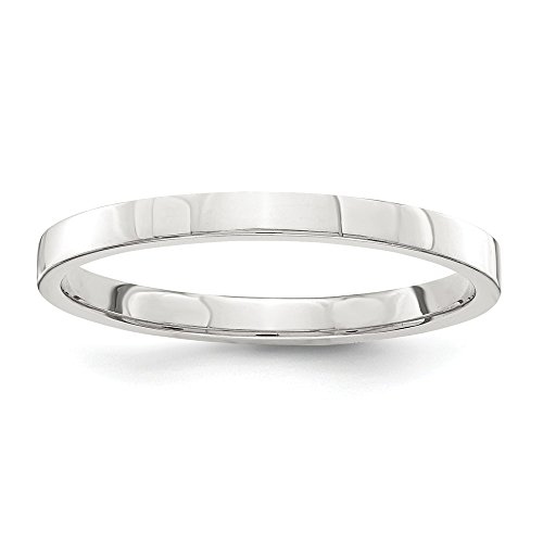 Flat Milgrain Wedding Band - JewelrySuperMart Collection Sterling Silver 2mm Plain Flat Classic Wedding Band Ring - Size 4.5