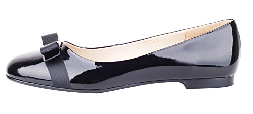 Round Bow Toe Flats (NIUERTE Women's Genuine Leather Flat Round Toe with Bow-tie Casual Formal Working and Parties Ballet Shoes Black Patent 8 B(M) US)