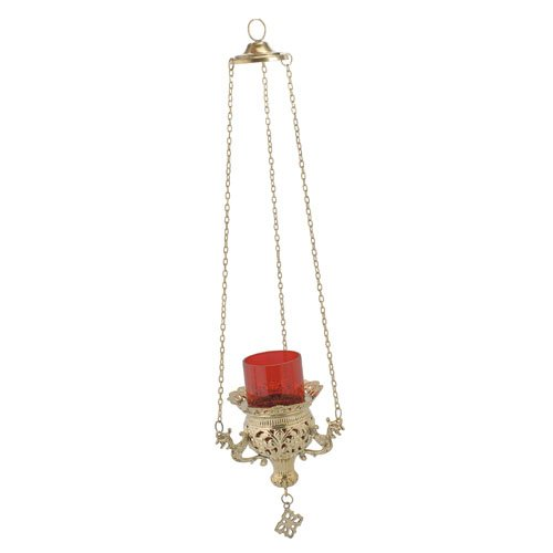 Hanging 3 Chain Engraved Brass Christian Church Vigil Lamp (9692 B)