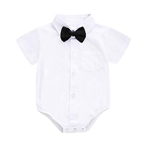 - ROMPERINBOX Infant Baby Boys Dress Shirt Bodysuit Formal Short Long Sleeve Rompers for Wedding Party (White Short Sleeve, 9-12 Months)
