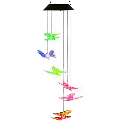AceList Butterfly Wind Spinner Solar Lights Garden Outdoor Decorations for Patio Yard Pathway Decor