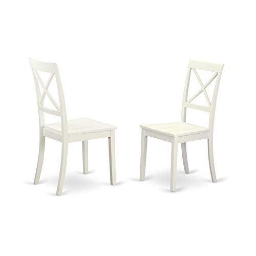 East West Furniture BOC-WHI-W X-Back Chair Set for Dining Room with Wood Seat, Set of 2 ()