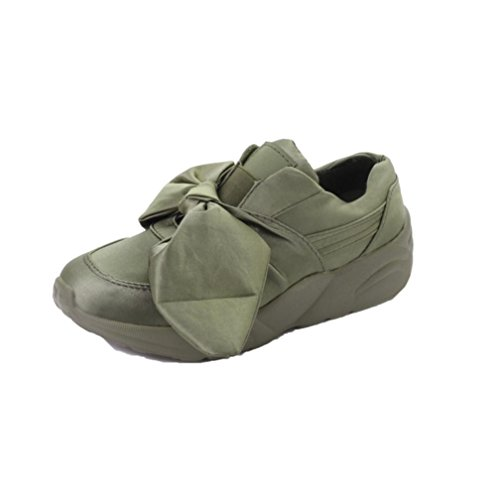 Flat Sandals, Hometom Woman Bow-Knot Flats Silk Bow Round Shoes (5.5 (M) US, Army Green)