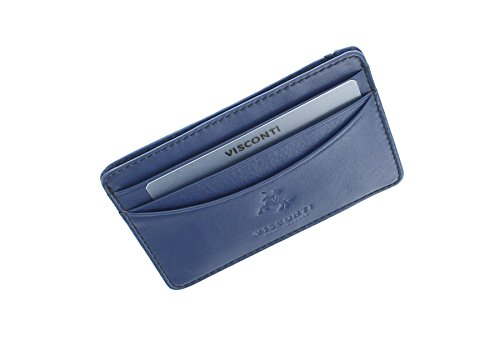 Leather Card Holder Credit RAZOR Collection VSL25 Visconti Oil Brown Slim Cobalt wqHtfR