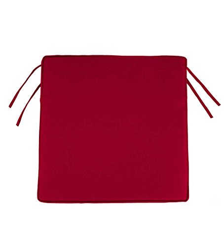 Classic Polyester Outdoor Chair Cushions With Ties, 19.75'' x 17.5'' x 3'' - Barn Red by Plow & Hearth