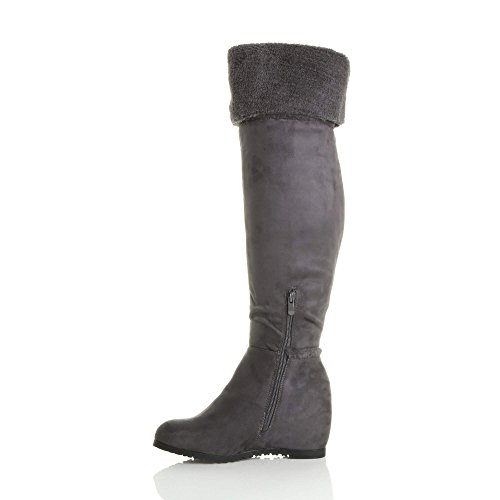 fold Shearling Boot mid Over Knee Aviator The Concealed Wedge Grey Size Ladies Womens XaOqTwYT