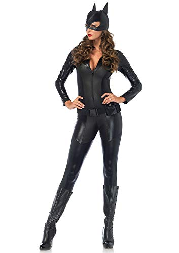 Bodysuit Catwoman Costumes - Leg Avenue Women's Sexy Crime Fighter Costume, Black,