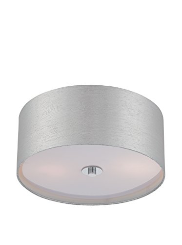 Lite Source LS-5569C/SIL E27 type A 60W x 2 Silvain Flush mount with Chrome/Silver fabric shade by Lite Source