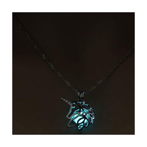Glow in The Dark Necklace Steampunk Hollow Pendant with Chain for Women 4