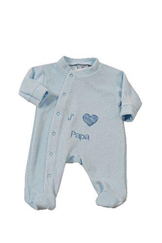 King Bear pijama terciopelo bordado J aime Papa con una apertura parte delantera. Pijama