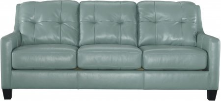Ashley O'Kean 5910338 86″ Stationary Sofa with Leather Match Upholstery Tufted Back Cushions and Loose Seat Cushions in Sky