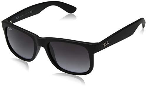 - Ray-Ban RB4165 Justin Rectangular Sunglasses, Black/Grey, 51 mm