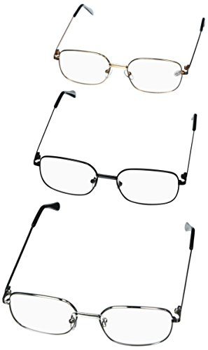 03ca37eecb2 Reading Glasses 1.5 For Women   Man By See 626 - Alphareader 3 Pairs Value  Packed Metal Readers- Unisex Reading Glasses - Black