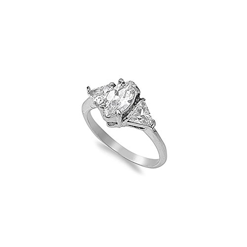Stainless Steel Classy 3 Stone Engagement Ring with Centered Marquise Cut Simulated Diamond & Triangle Simulated Diamonds on Sides 3 Stone Triangle Ring
