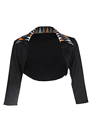 Pinup Couture Womens 50s Style Shrug in Black with Halloween Harlequin Trim (XS)
