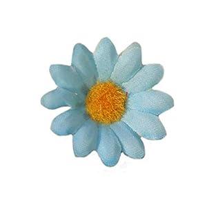 """Ewanda store 100Pcs Artificial Silk Sunflower Heads Gerbera Daisy Flowers Petals 1.6"""" for DIY Home Wedding Decoration,Garden Craft Art Party Decor(Light Blue) 38"""