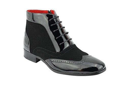 Ganster Schuhe Stiefeletten Leder Schwarz Patent Herren Zank Fancy Party Schwarz Zip Halbschuhe wxBCqEUCz