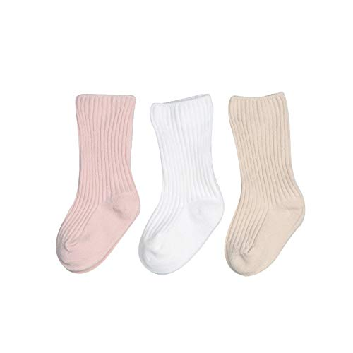 FQIAO Baby Sock Unisex 6-12 Months 3Packs Cotton Solid Color