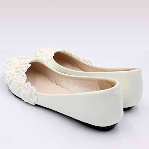 Piatta Donna Per Seraph Bianche White In Da E Bh127 Sposa Fiore Pizzo Scarpe Punta Con Le 7qaPqIw