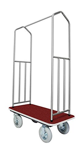Stainless Steel Bellman's Cart with Red Deck by Evania Luigi Brigitte