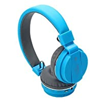 SH-12 wireless headphones stretchable foldable with Bluetooth and inbuilt microphone and SD card slot(Blue)