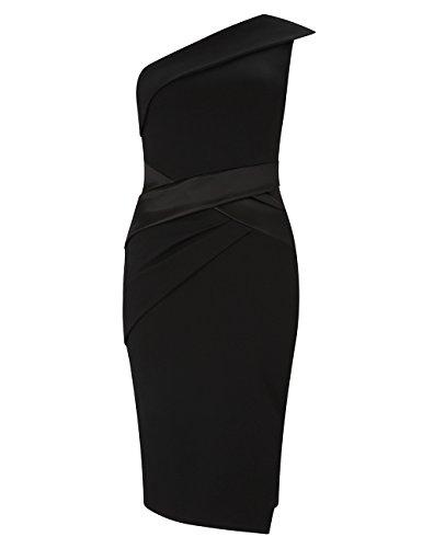Lipsy Mujer Vestido ajustado de satén con diseño plisado Negro