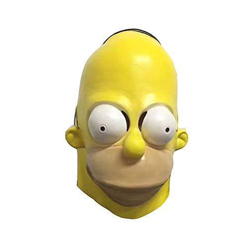 Homer Simpson Cosplay Mask Funny Cute Latex Halloween Costume Mask Yellow -