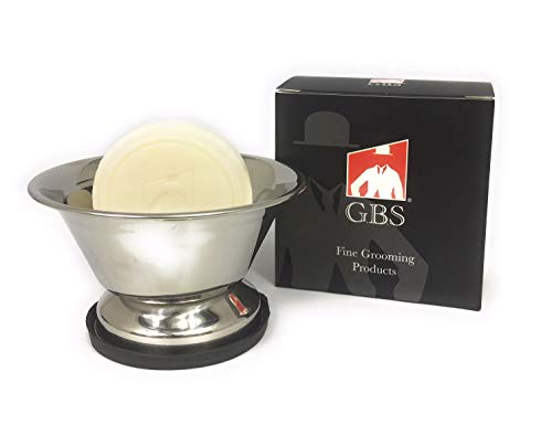 GBS Stainless Steel Shaving Bowl with Non-Skid Natural Rubber Base - Free GBS Ocean Driftwood Shave Soap - Accommodates both mug size and over-sized soaps! by GBS