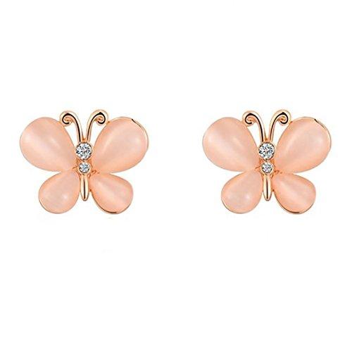 Price comparison product image Women Jewelry , AIMTOPPY Luxurious Imitation Opal Butterfly Earrings Ear Stud Earrings Jewelry (Rose Gold,  free)