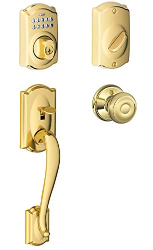 (Schlage FE365-CAM-GEO Camelot Electronic Handleset with Georgian Knob, Lifetime Polished)