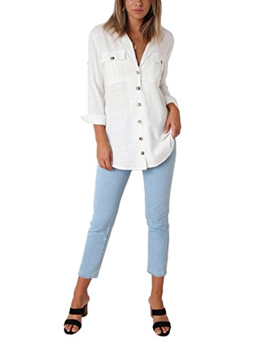GRAPENT Women's Casual Loose Roll-up Sleeve Blouse Pocket Button Down Shirts Tops L(US 12-14) by GRAPENT (Image #3)