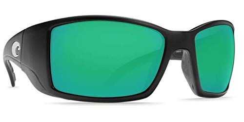 (Costa Del Mar Blackfin Sunglasses - Black Frame - Green Mirror COSTA 580 Lens)