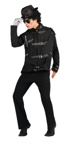 Michael Jackson Deluxe Bad Buckle Jacket, Black, Medium Costume