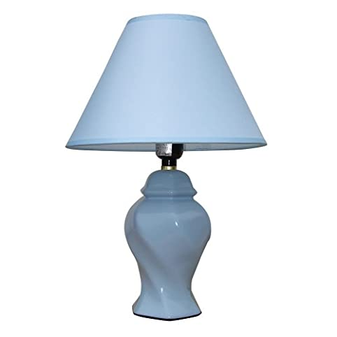 Ore International 606BL 15 Inch Ceramic Accent Table Lamp, Blue