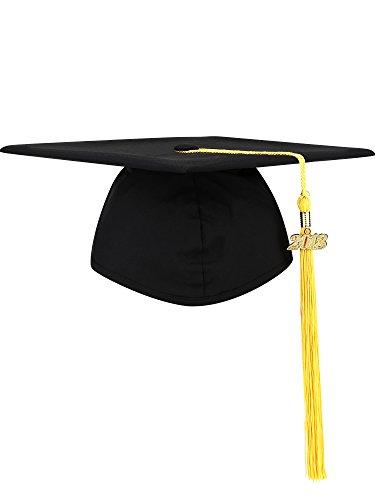 Hicarer Black Graduation Cap Matte Doctorial Hats Master's Degree Cap Polyester Trencher Cap with 2018 Tassel for Graduation Party Photo Shot - Graduation Hat Tassel