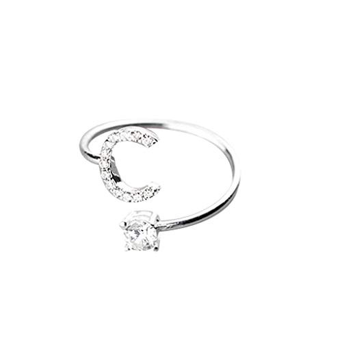 Orcbee  _Fashionable and Simple Opening 26 Letters with Diamond Ring Ladies Jewelry -