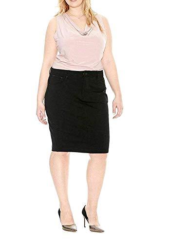 Jack David Women's Plus Size Blue Wash Soft Curvy Stretch Denim Jeans Skirt 1X 2X 3X (2X, Jack David JD-A500 Black)