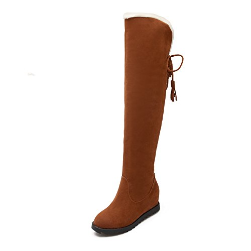 JOYBI Women Winter Faux Suede Snow Boots Fur Slip-On Height Increasing Tassel Round Toe Over The Knee Boots Yellow