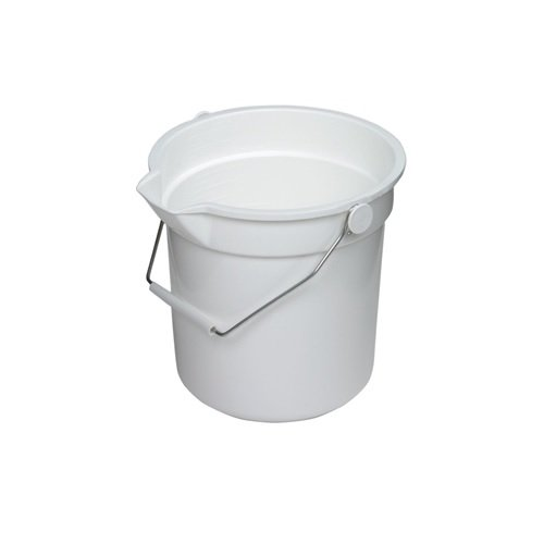 Continental 8110WH, Huskee White Bucket with Steel Handle and Pour Spout, 10qt Capacity, 10-5/8'' Diameter x 10-1/4'' Height (Case of 12)