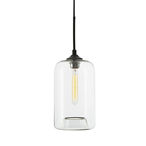 (Clear Glass 1-Light Pendant Lamp, Windsor Heights Collection, Cylinder Shape Ceiling Fixture )