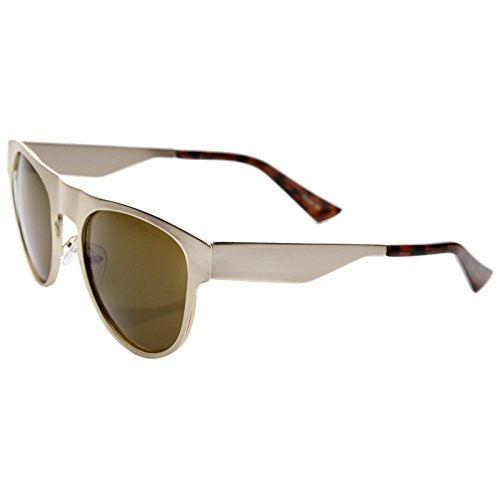 c61867398eb52 Amazon.com  Men s Flat Metal Frame Keyhole Nose Bridge Horn Rimmed Aviator  Sunglasses 51mm (Gold Brown)  Clothing