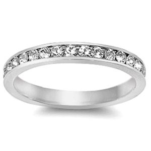 3mm Sterling Silver WHITE GOLD TONE Stackable Rim CLEAR 360CZ Eternity Ring 4-10 (8)