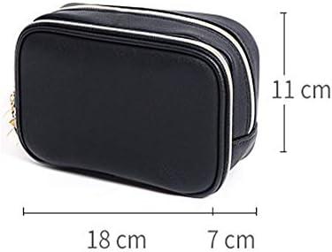 トラベルポーチ化粧ポーチ 防水コスメティックバッグ大容量化粧品収納袋ポータブル小型トイレバッグ トラベルポーチ 化粧品 (色 : Black, Size : 18x7x11cm)