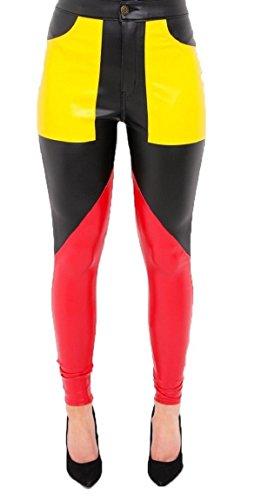 FLIRTY WARDROBE PU Faux Leather Skinny Trousers Pants High Waist Contrast Panel Leggings Womens [Yellow ()